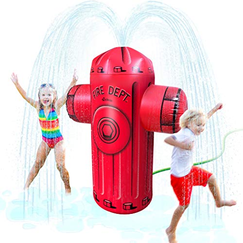 GoFloats Giant Inflatable Fire Hydrant Party Sprinkler - 5 Feet Tall Yard Sprinkler for Kids Summer Fun, Red