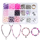 SUNNYCLUE 1 Set 452pcs DIY Necklace Bracelet Jewellery Making Starter Kit, Frosted Round Faceted Abacus Glass Beads, Tools Kit and Elastic Wire Jewellery Findings Set are Included(Pinkish Purple)