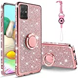 ZUDRITT for Samsung Galaxy A71 4G Case, Cute Bling Glitter Rhinestone Crystal Shiny Sparkle Protective Cover with Electroplate Plating Bumper Luxury Fashion Case, for Galaxy Note A71 4G(Rose Gold)