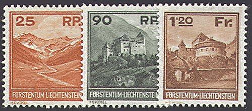 Goldhahn Liechtenstein Nr. 119-121  Freimarken 1933  Briefmarken für Sammler