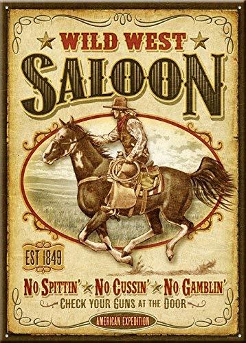 SIGNCHAT Wild West Saloon Metall-Blechschild 20,3 x 30,5 cm