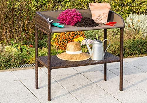 gartenmoebel-einkauf Pflanztisch mit Metallgestell und Polyrattanbespannung braun, Arbeitsfläche mit Zinkplatte, Maße 93x47x90cm