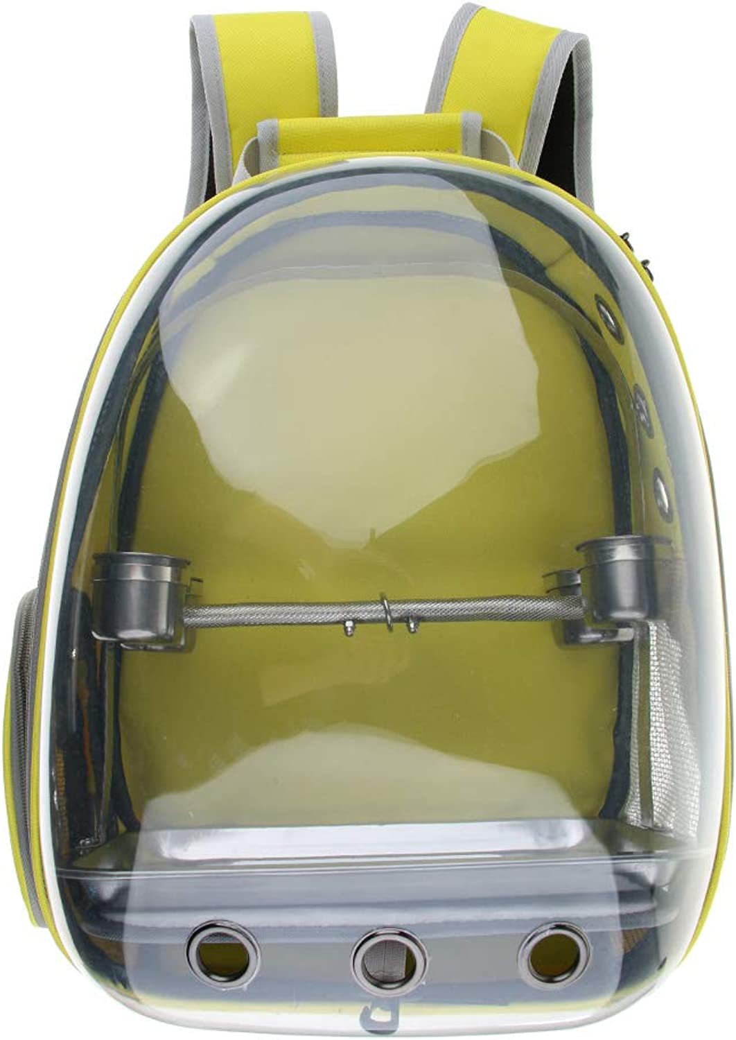 Perfeclan Clear Cover Parred Bird Carrier Backpack with Stainless Steel Perch Stand & Feeder (Yellow)