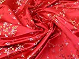Minerva Crafts Chinesischer Satin-Brokat, Rot – Meterware