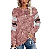 Elesoon Blusa de manga larga a rayas color sólido bloque liso talla grande cuello redondo suelta blusa grande, B-rosa, 44
