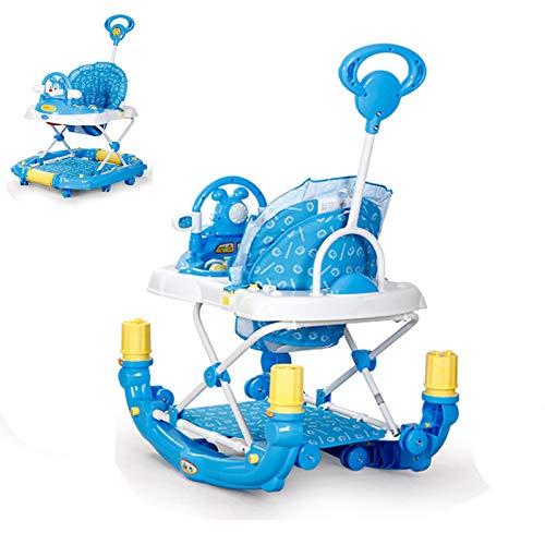Olz Andador Plegable para Actividades para bebés, Andador para bebés con 8 Putter de Rueda Universal Mudo y sombrilla, Asiento y Patas Ajustables en 5 Alturas, para niños de 6 a 18 Meses,Azul