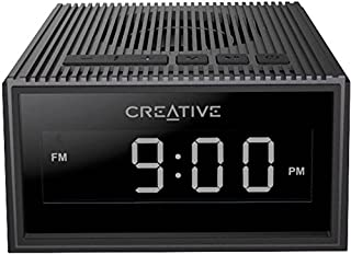 Creative 51MF8280AA000 Chrono Portable Splash-Proof Bluetooth Speaker with FM Radio, Alarm Clock, Micro Sd Slot - Black (Pack of 1)