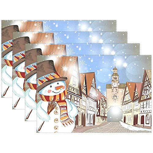 Weihnachten häuser im Schnee niedlichen schneemann tischsets esstisch hitzebeständige küchentisch dekor waschbar tischsets Set von 6, (45x30 cm)