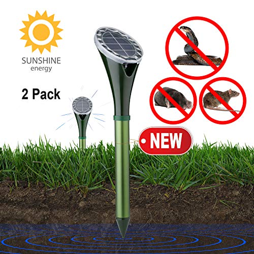 Solar Powered Snake Repellent for Outdoor, Gopher Repellent Ultrasonic, Get Rid of Snake Mole Gophers for Outdoor Garden Yard 2 Pack