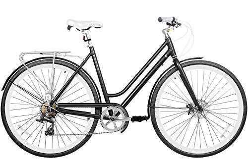 "700 (28"""") Light Aluminium Disc Brake 7 Speed Fire Shifter City Bike Commuter Comfort Gama Bikes Metropole Women Black, Medium"