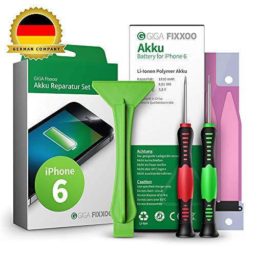 GIGA Fixxoo Akku Reparaturset kompatibel mit iPhone 6 | Einfacher Austausch mit Anleitung und Werkzeug im Set bei Defekter Batterie, schnelles Wechseln