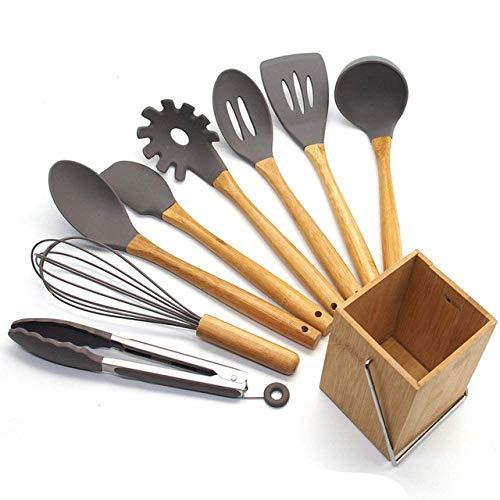 X8 / 9 PCS Kochen Utensil Set, Silikon Holzküchen Spachtel Set for Backen Küchenhelfer Küchensets, 9pcs zhihao (Color : 9pcs)