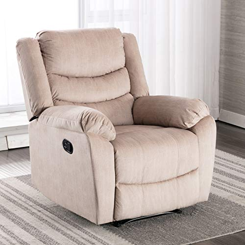 ANJ Recliner Chair with Overstuffed Arm and Back, Classic Recliner Single Sofa Home Theater Seating, Cream
