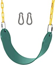 """Techcell Heavy Duty Kids Swing Seat Outdoor- Kids Tree Swing Set Accessories for Backyard Playground- 60"""" Plastic Coated Chain with Two Replacement Snap Hooks (Green)"""