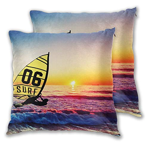 Weitaoying Beach Surfing Print Decorative Throw Pillow Cases Set of 2 Square Cushion Cover for Sofa, Couch, Bed and Car Home Decor Pillows Covers