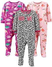 Simple Joys by Carter's Pijama de Forro Polar Resistente al Fuego de Ajuste Holgado con pies Bebé-Niñas, Pack de 3