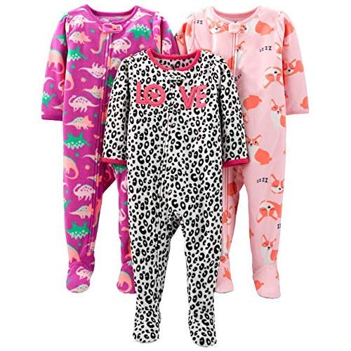 Simple Joys by Carter's Girls' Toddler 3-Pack Loose Fit Flame Resistant Fleece Footed Pajamas, Fox/Dino/Leopard Print, 2T