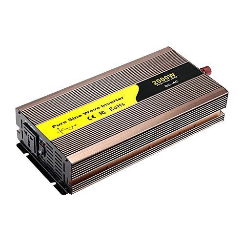 Inversor de corriente de 2000 W, onda sinusoidal pura de 12 V / 24 V / 48 V CC a 110 V / 220 V CA, convertidor de sobretensión de 4000 W con salida de CA y puerto USB, para sistema de energía solar pa