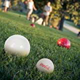 Bocce Ball Set- Coca Cola Regulation Outdoor Family Bocce Game for Backyard, Lawn, Beach and More- 8 Balls, Pallino, and Carrying Case by Hey! Play!