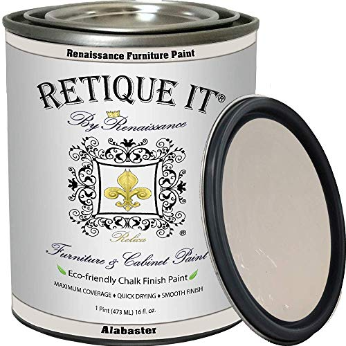 Retique It Chalk Furniture Paint by Renaissance DIY, 16 oz (Pint), 11 Alabaster