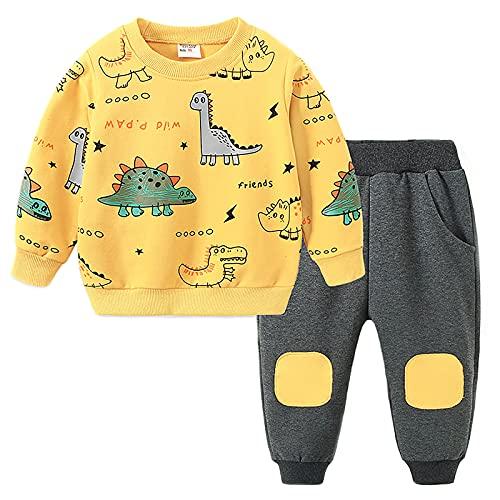 Edjude Conjunto de ropa para bebés y niñas, con capucha, manga larga, sudadera, pantalones de otoño, 2 piezas, Dinosaurio Amarillo, 1-2 Años