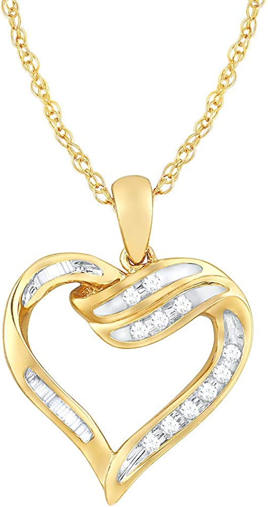 Diamond Heart Pendant Necklace 1 10 cttw Genuine Free Shipping in Gold 10k Yellow I New mail order 18