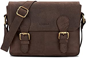 LEABAGS Wellington genuine buffalo leather messenger bag in vintage style