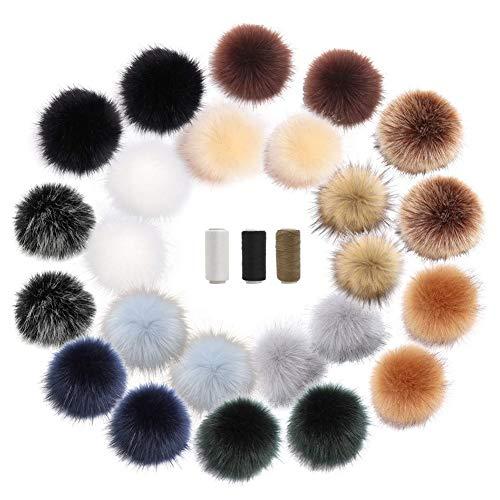 Fellbommel, 24Pcs 8 cm Multicolor Fake Fuchspelz Pom Poms Flauschige Pom Poms mit Elastischer Schleife zu DIY Hüte Schuhe Mäntel Schals Schlüsselanhänger Taschen, mit 3 Rollen Nähgarn