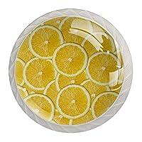 引き出しノブプルハンドル4個 クリスタルガラスのキャビネットの引き出しは食器棚のノブを引っ張る,レモンスライス
