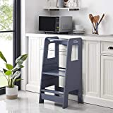 homye Kid's Wooden Kitchen Step Stool, Adjustable Height Baking Footrest, with Safety Guardrail Children's Learning Tower, Toddler Stool, Bathroom Hand Washing Foot Stool(Grey)