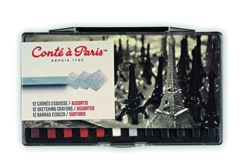 Conté à Paris Sketching Crayons Set with 12 Assorted Colors