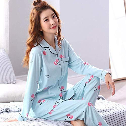Accesorios para sala de estar, conjunto de pijama, conjuntos de pijama para mujer, manga larga, otoño, 2XL, estampado elegante, delgado, moderno, estilo coreano, bolsillos para mujer, pijamas, 14, L