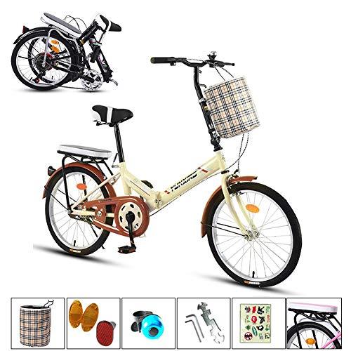 TopJiä Billig Zoll Erwachsene Faltrad,Damen Herren Faltrad Mit Korb Rücksitz,Einzelgeschwindigkeit Aluminiumrahmen Mini Fahrrad Für City Radfahren Gelb