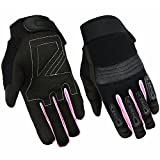HUGGER Women's Touchscreen Full Finger Motorcycle Gloves w/Reinforced Palms for Riding, Cycling, Climbing, Work, Sports (Large, Pink/Black)