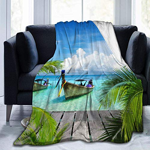 Flanell Fleece Überwurfdecke, Strand und tropisches Meer Holzdeck Schwimmboote Sunshine Honeypot Warm Cosy Perfect Throw für alle Jahreszeiten für Couch Bed Sofa