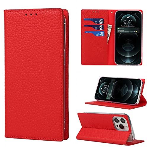Copmob iPhone XR Hülle,Premium Echtleder Flip Brieftasche Handyhülle,[3 Kartenfächer][Magnetverschluss],Ledertasche Schutzhülle für iPhone XR - Rosso