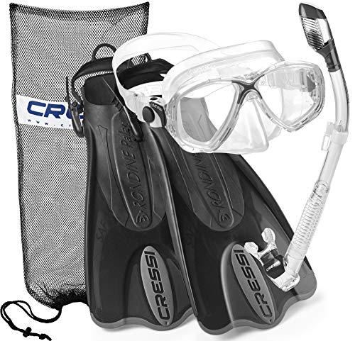 Cressi Palau Mask Fin Snorkel Set with Snorkeling Gear Bag, Titanium, S/M | (Men's 4-7) (Women's 5-8)