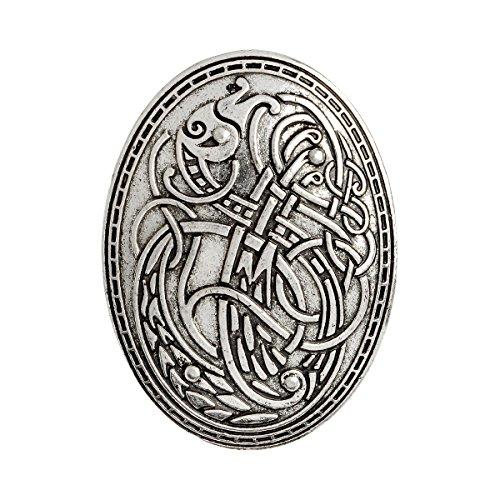 QIHOO Norse Medieval viking shield symbol brooch (Silver)