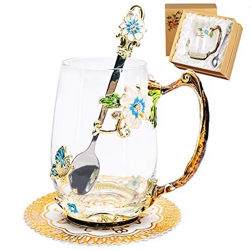 Tea Cup Coffee Mug Cups, 13oz Handmade Iris Japonica Tea Mug with Spoon, Unique Gift for Women Mom Grandma Female Friend - Blue Tall