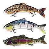 AYADA Señuelos Articulados para Pesca, Wobblers Cebo Pesca Artificial Swimbait Cebo con Anzuelos Mustad Agua Dulce Mar, Cebo senuelos Lucio lubina Trucha Mullet Bass(3Pcs)