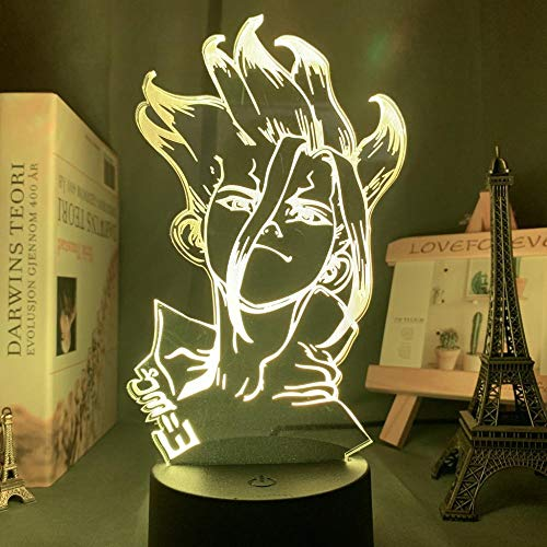 Lâmpada de mesa 3D anime Dr Stone para decoração de quarto de crianças e crianças, presente de mangá para meninos e meninas, luz noturna de LED de acrílico, luminária de toque