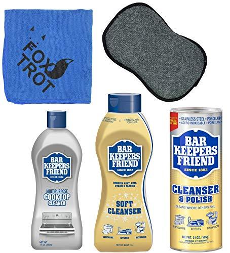 Bar Keepers Friend Cleanser Trio - Mega Bundle (21 Oz Cleanser & Polish Powder   26 Oz Liquid Soft Cleanser   13 Oz Cooktop Cleaner) Plus 1 Foxtrot™ Microfiber Towel & 1 Microfiber Scrubber Sponge