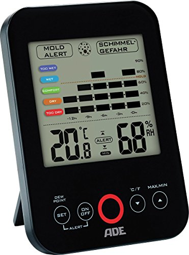 ADE Digitales Hygrometer WS 1501 mit visuellem Schimmelalarm. Thermometer mit präziser Anzeige der Temperatur. Luftfeuchtigkeit mit 12 Stunden-Verlauf. Großes LCD-Display. Inkl. Batterie. Schwarz