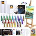Acrylic Paint Set, 63 PCS Complete Painting Supplies - 24 Colors Acrylic Paint, Canvases, Wooden Easel, Paint Brushes, Palette Knives and Accessories, Paint Set for Kids, Adults, Artists and Beginner