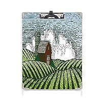 クリップボード A4サイズ対応 レンジップボード 農場の家の装飾 作業用ペーパーホルダー (2パック)田舎の生活緑