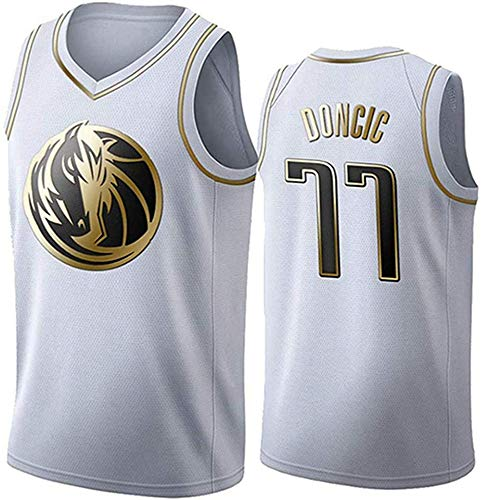 WHYYT NBA Jerseys - Dallas Mavericks # 77 NBA Luka Donic Men's Basketball Jersey, Chaleco sin Mangas Transpirable Bordado,XXL(185~190CM/ 95~110KG)