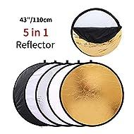MOUNTDOG 43''/110cm Photography Reflector Photo Video Studio Multi Collapsible Disc 5-in-1 Lighting Reflector for Softbox Lighting Portable Collapsible Light Reflector
