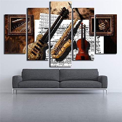 XuFan Arte de Pared Impresiones decoración 5 Piezas Instrumentos Musicales Guitarra saxofón violín partitura Musical Pinturas Cuadros de Lienzo modulares 30x40 30x60 30x80cm Sin Marco