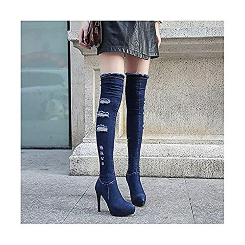 GSYNXYYA Frauen High Heels, Fashion Fine Heel Elastizität Overknee-Stiefel, 5,7 Zoll Sexy Nachtclub Pole Dance Cowboystiefel (Dunkelblau),Dark Blue,40EU