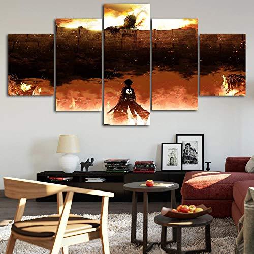 JIONGJIONG 5 Piezas decoración Pared Grandes Cuadros, Dormitorio,Baño, Comedor Modernas Decoracion de Pared de Arte. Ataque a los Titanes Anime.
